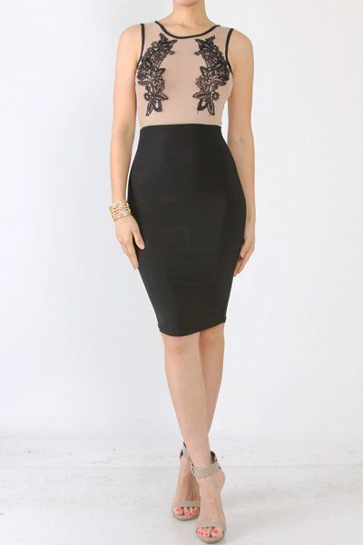 Nude and Black Embroidered Sleeveless Ashley BodyCon Dress | A Classy Closet Boutique