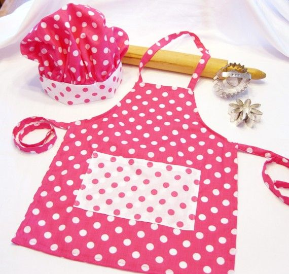 Retro Pink and White Dots Child Apron and Chef Hat set