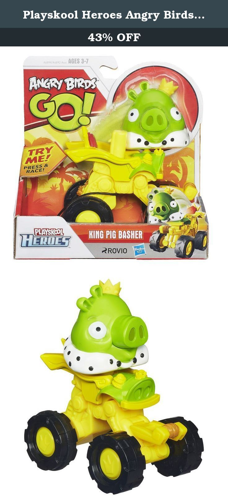 Playskool Heroes Angry Birds Go! King Pig Basher. It's the Angry Birds app come to life, in collectible birds and pigs your little ones can roll and race! The King Pig Basher lets you continue the clash between the birds and the pigs on the track! Zoom your King Pig Basher until he crashes and watch the pig part pop out and slam into his birdy opponent. Who will win the ultimate bird-pig smash-up? It's all up to you! Playskool and all related characters are trademarks of Hasbro. Hasbro…