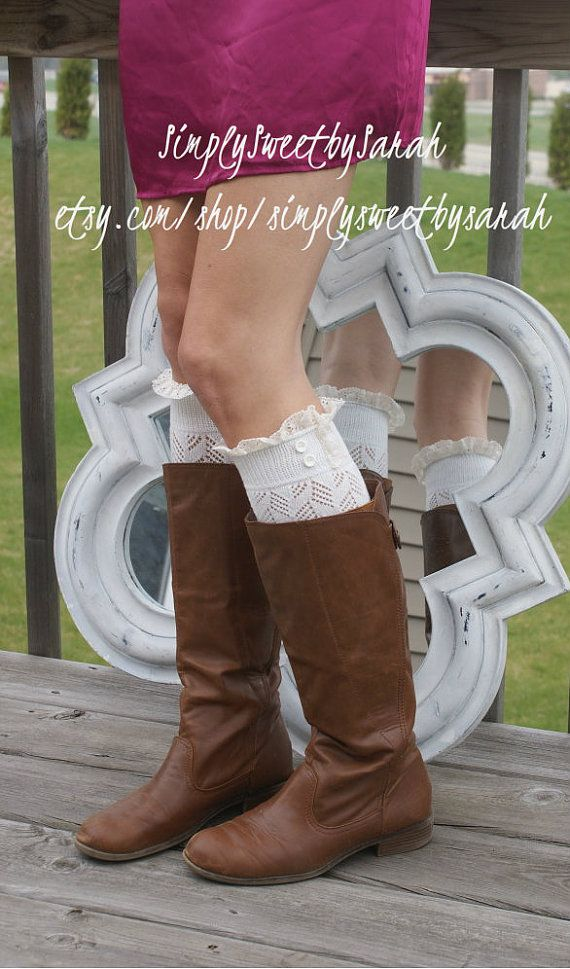 Light White boot socks with Lace by SimplySweetbySarah on Etsy