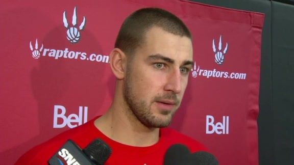 Jonas Valanciunas on added size and lessons learned as a rookie after Day 2 of #Raptors Training Camp.