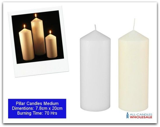 Long burn time Church pillar candles in a choice of Ivory and White colours. Dimensions: 7.8cm x 20cm Burning time: 70 hrs Make a great decorative statement in your home. Elegant and striking, these pillar candles make wonderful centre pieces for your table or fireplace.