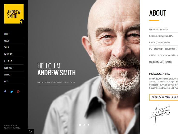 'Mee' is a unique horizontal scrolling resume-style One Page HTML template. By clicking the fixed left navigation, the content slides left and right, accordingly. Areas include About (nice touch with signature), Skills (with infographics), Experience, Education, Portfolio (with pop up slider) and a Contact section (with form). Additional features are a neat 404 page and also a styled blog area.