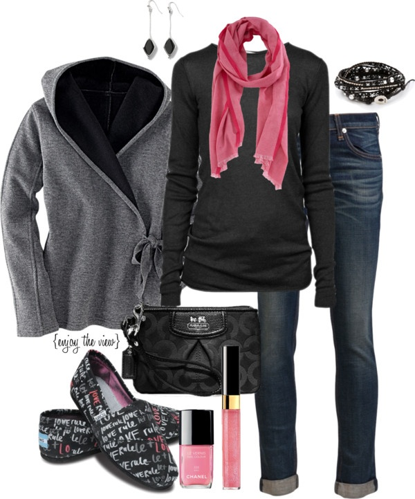 """""""casual black, grey, & pink"""" by enjoytheview on Polyvore"""