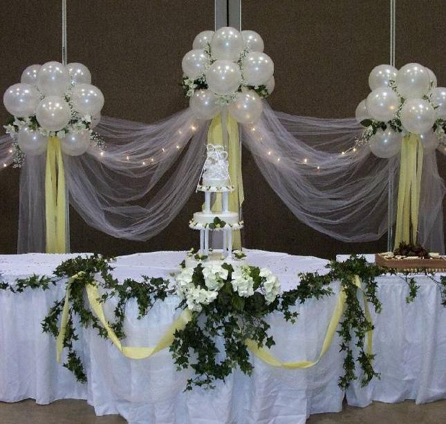 82 best cake table images on pinterest for Balloon decoration for wedding receptions