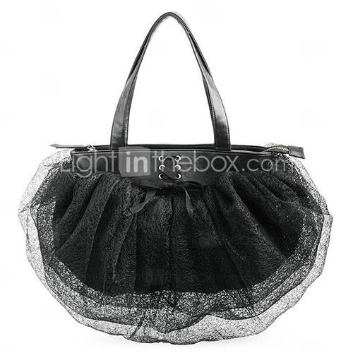 Bowknot Lace Ladies' Satchel/Shoulder Bag: Black Lace, Bowknot Lace, Shoulder Bags, Lace Bags, Black Bowties, Bags 62, Lace Handbagsfashion, Lace Shoulder, Aza Shoulder
