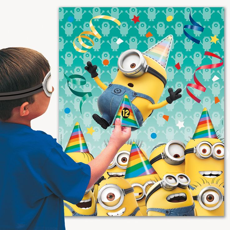 Pump up your party with the Minions Despicable Me Party game. Guests of all ages are sure to have a blast trying to properly pin the pocket on a beloved Minion!
