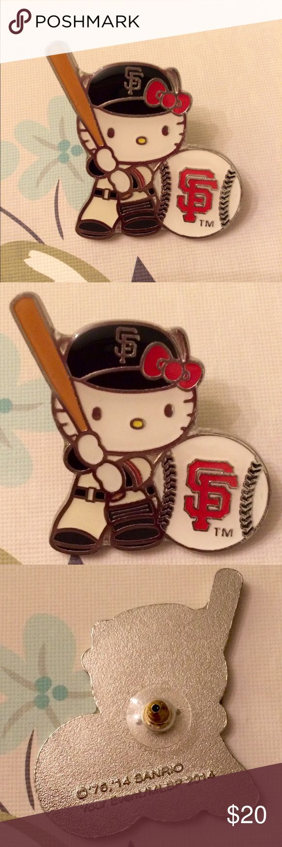 "MLB SF Giants Hello Kitty Baseball Pin MLB SF Giants Hello Kitty Baseball Batter Pin Button Badge Stadium Exclusive.  Gently used with light scratches on face of pin, not visible unless super close.  I don't have the original packaging and only selling the pin.  Will pack in bubble wrap when ship.  Description: Go all out for the Giants this season!   Specifications:  - Officially Licensed Hello Kitty MLB Merchandise  measures 2"" inches MLB Accessories Key & Card Holders"