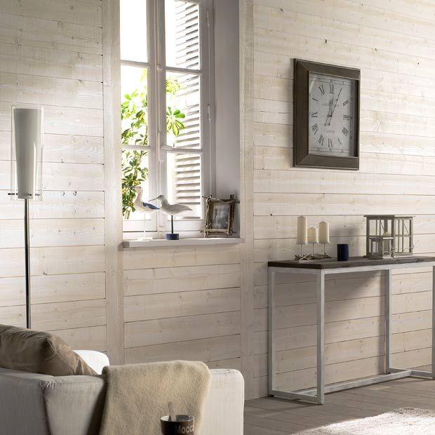 Lambris anglet blanc noeux lapeyre salon pinterest for Bardage bois interieur maison