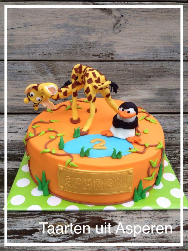 Madagascar taart met giraf en pinguin