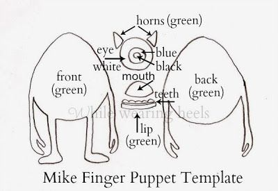 Monsters Inc Finger Puppet Tutorial by While Wearing Heels