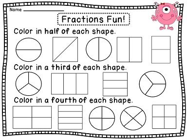 Printables First Grade Fractions Worksheets 1000 ideas about fractions worksheets on pinterest to practice halves thirds and fourths