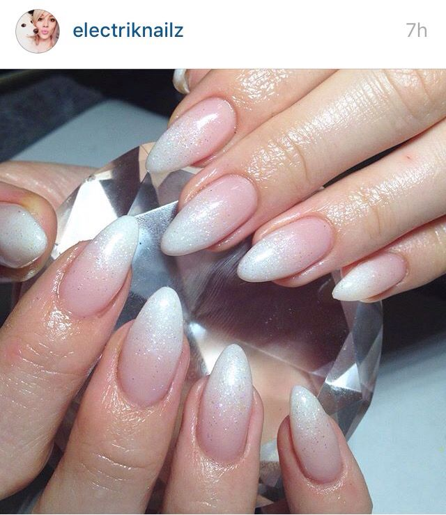 Glitter French fade nails
