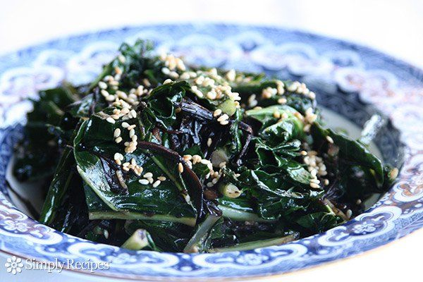 Kale with Seaweed, Sesame and Ginger ~ Wilted kale recipe with arame seaweed, garlic, sesame, and fresh minced ginger. ~ SimplyRecipes.com