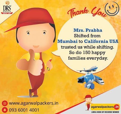 Mrs.Prabha Shifted from Mumbai to California USA Trusted us while shifting. So do 150 happy families everyday. Agarwal Packers and Movers - DRS Group #Packersmovers #Movers #agarwalpackers #originalagarwalpackers