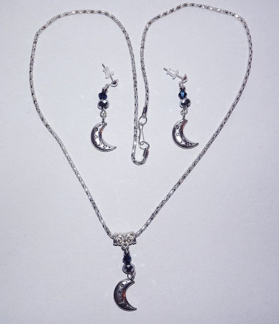 Necklace & Earring Set  Starry Blue Moon  FREE UK by KasumiCrafts