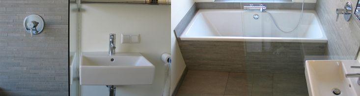 Jaren 30 badkamer. Mooie tegels tegen de badkuip aan