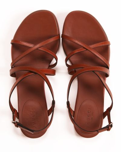 brown leather multi-strap sandals.