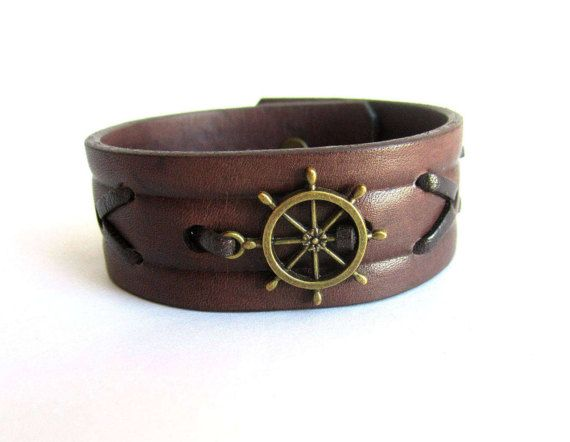 Men ship wheel bracelet ship wheel leather by Bravemenjewelry