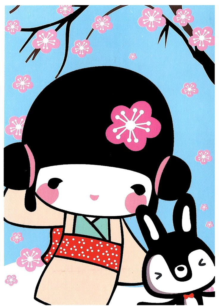 Aiko Kokeshi Doll Postcard: Rabbit Friends