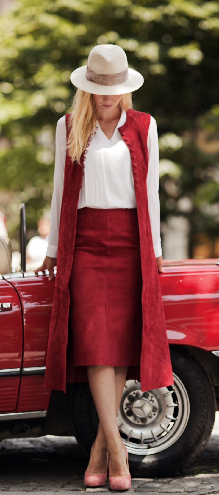 Red suede vest and pencil skirt by ADAMOFUR #style #streetstyle #fashion #inspiration