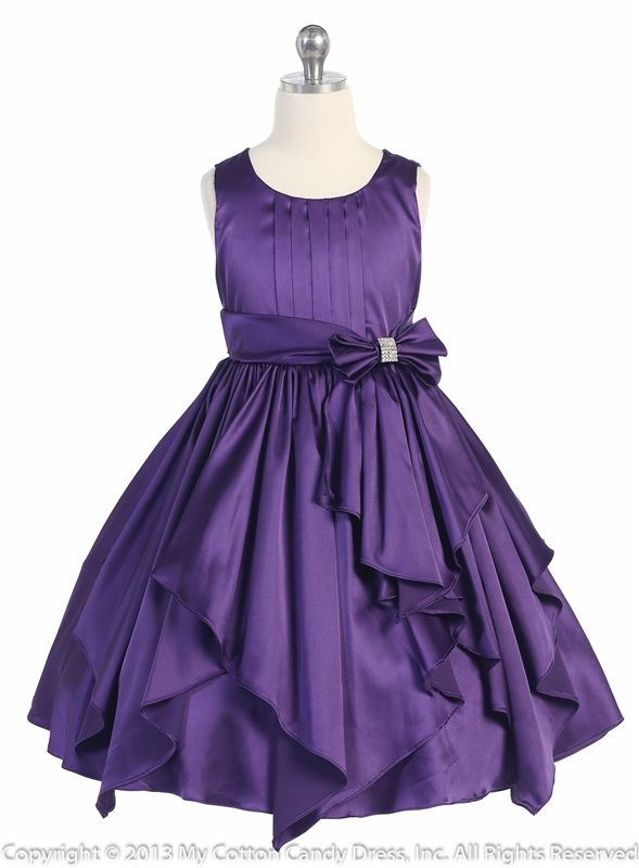 Purple Flower Girl Dresses | Purple Ribbon Sashes Flower Girl Dress