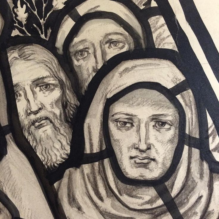 Detail from the #Whitefriars stained glass cartoon collection | Rakow Research Library (CMGL 106686) #coloringpages #whitefriarswednesday #colorourcollections