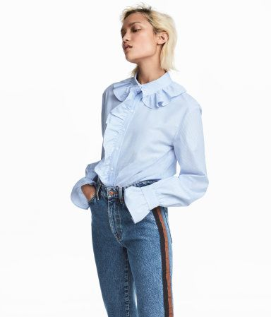 Shirt with Ruffles | White/blue striped | WOMEN | H&M US