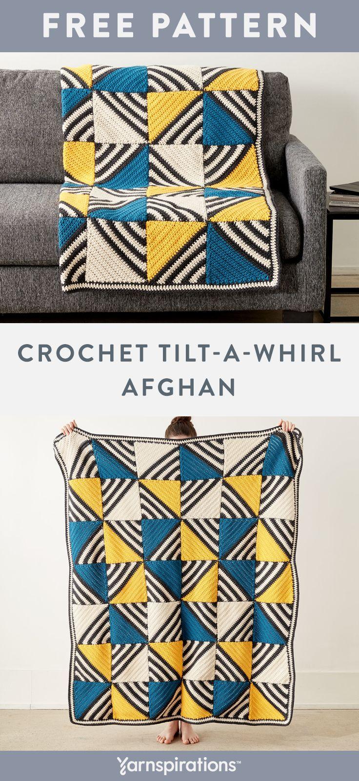 Tilt-A-Whirl Afghan | Free Crochet Blanket Pattern | Caron One Pound Yarn | Brin…