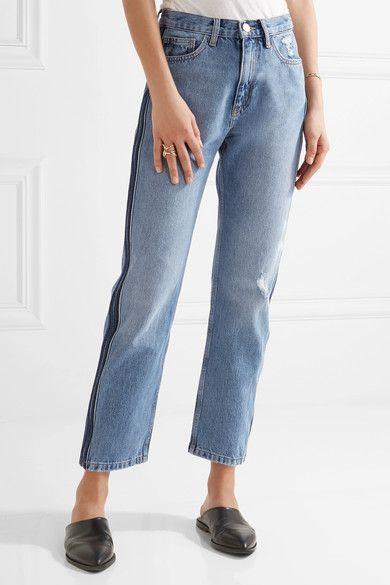 M.i.h Jeans - Jeanne Cropped Striped Straight-leg Jeans - Mid denim -