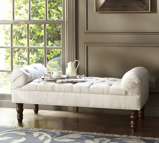 tufted bedroom bench lorraine tufted bench pottery barn in the bedroom 13603