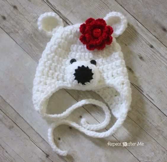 Super cute polar beat hat. Gor newborn to adult even! repeatcrafterme.com