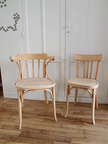 Chaise Baumann et fauteuil en bois