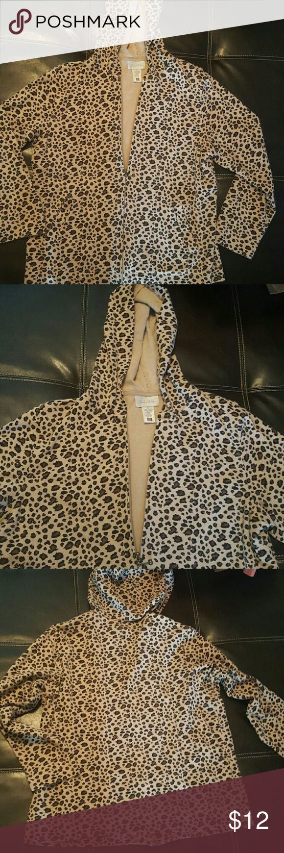 Chetta print Leopard full zip hoodie hooded shirt Great condition full zip sweatshirt, perfect for fall. Tan brown & black Ladies Womens M Medium Top rated Fast shipper Studio Works Tops Sweatshirts & Hoodies