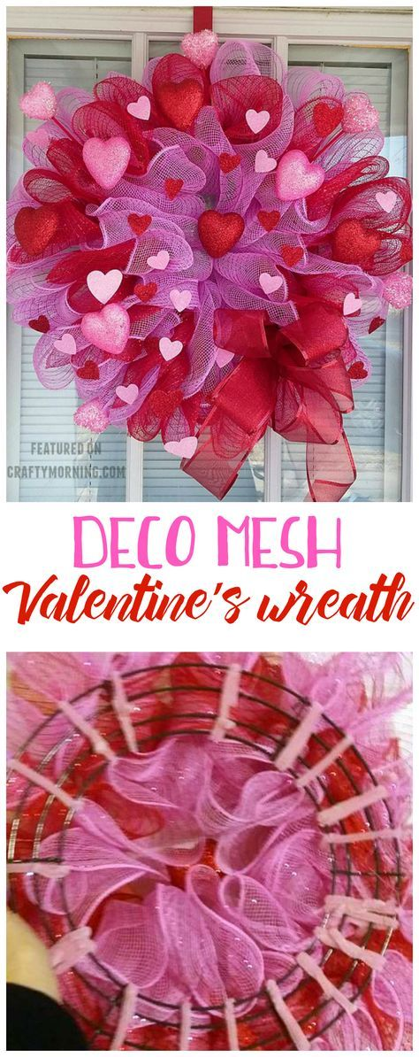 Learn how to make a beautiful pink and red deco mesh Valentine's Day wreath! So easy and such a cute craft to make.