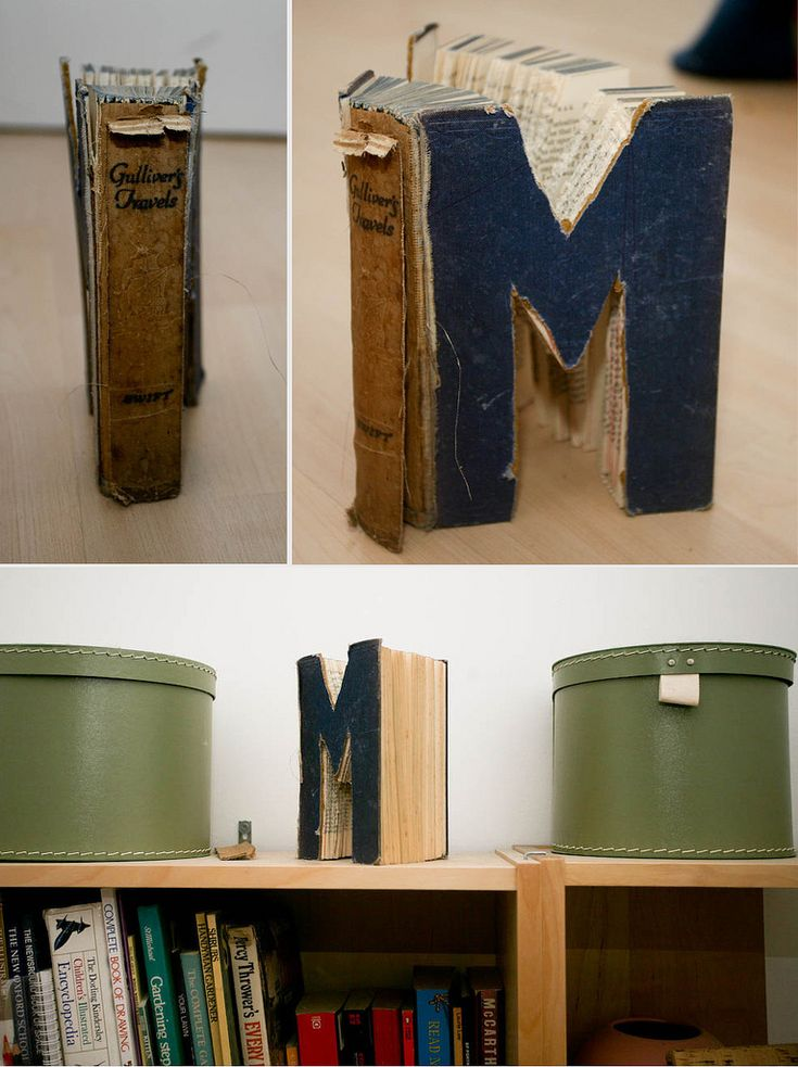 Innovative idea - use a tattered hard-cover book an cut to your initials.