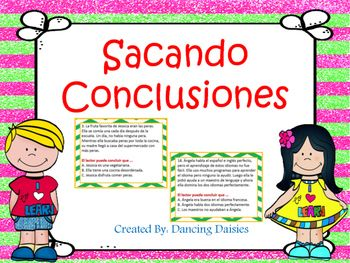 This set of drawing conclusions task cards in SPANISH includes 24 short stories with multiple choice answer questions, and answer key. This set is great for engaging your students to exercise their Drawing Conclusions skill, an important test taking strategy.