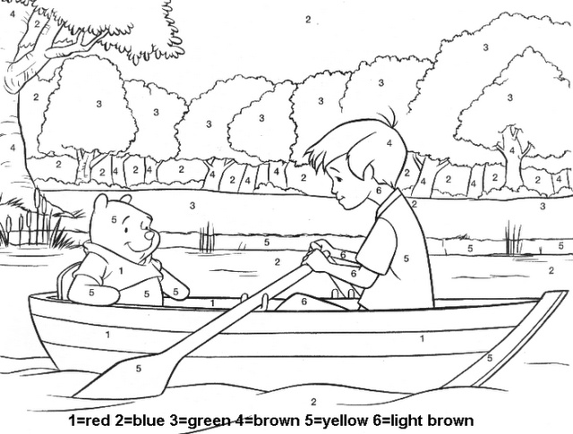 Winnie the Pooh Color by Number DISNEY COLORING PAGES