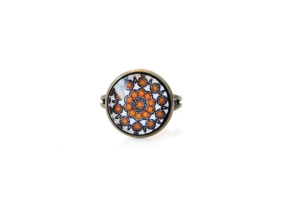 Abstraction - adjustable ring, 12mm glass dome photo cabochon, bezel ring, statement ring, rosette ring, white brown, simple elegant