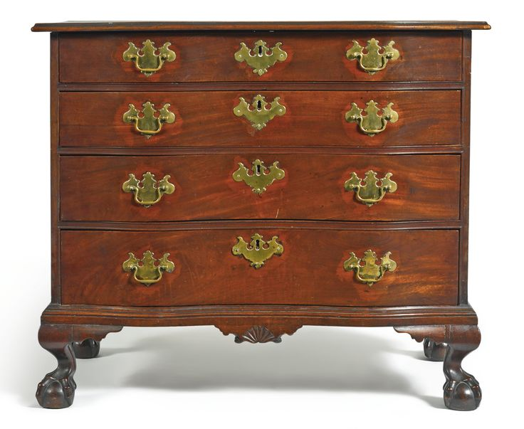 VERY FINE CHIPPENDALE CARVED AND HIGHLY FIGURED MAHOGANY REVERSE-SERPENTINE  CHEST OF DRAWERS, PROBABLY · Classic FurnitureAntique ... - 3448 Best Antique Furniture-Early American Images On Pinterest