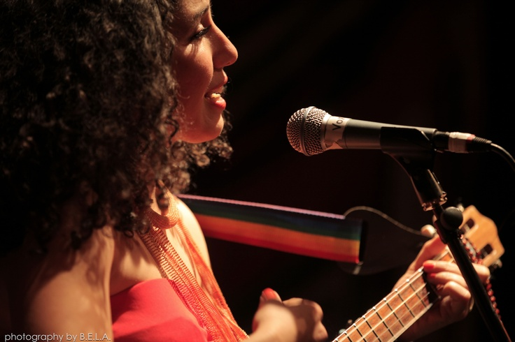 Venezuelan singer and cuatro player Luzmira Zerpa, who performed with her new band Family Atlantica, by Bela Molnar
