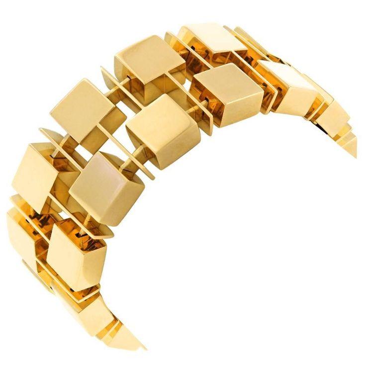 Spectacular Modernist Gold Bracelet | From a unique collection of vintage link bracelets at https://www.1stdibs.com/jewelry/bracelets/link-bracelets/
