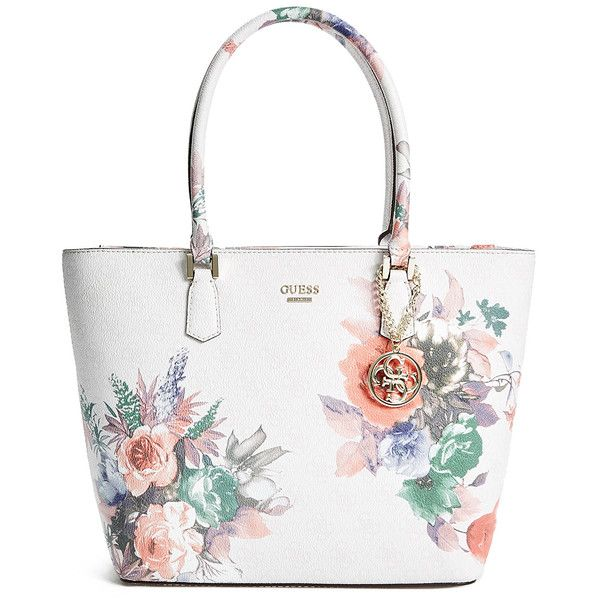 GUESS Linea Floral-Print Logo Tote ($98) ❤ liked on Polyvore featuring bags, handbags, tote bags, cement, floral tote bag, floral handbags, floral tote, tote bag purse and guess handbags