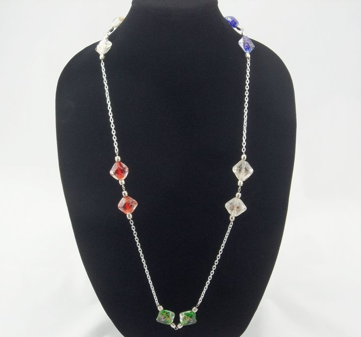 Multi Colour Square Lampwork Bead Long Stainless Steel Chain Nec