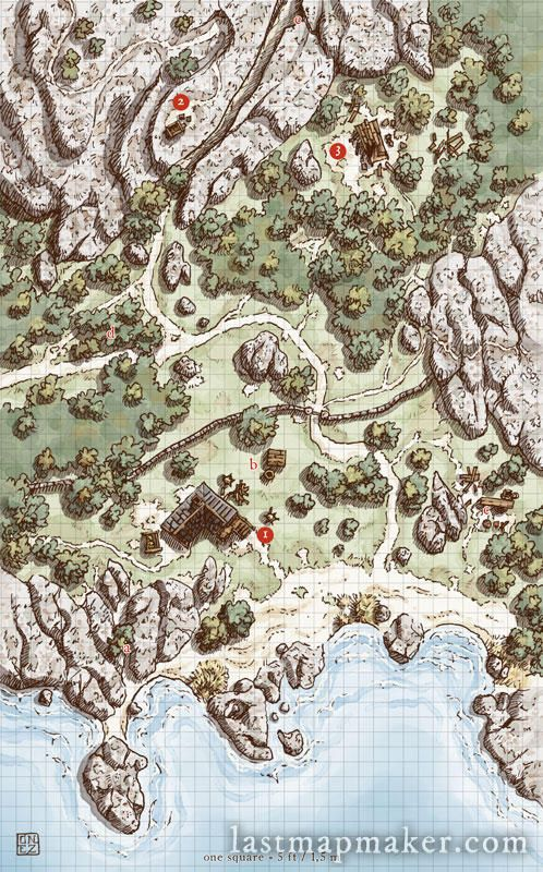 The Beach Cottage by last-mapmaker | Maps | Fantasy map, Dungeon