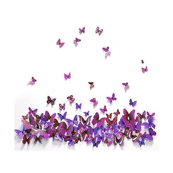 Star 12 Pcs 3D Butterfly Wall Stickers New Home Art Decor Decoration... ($5.99) ❤ liked on Polyvore featuring home, home decor, wall art, butterfly wall stickers, purple wall decals, butterfly decals, star decals and butterfly wall art