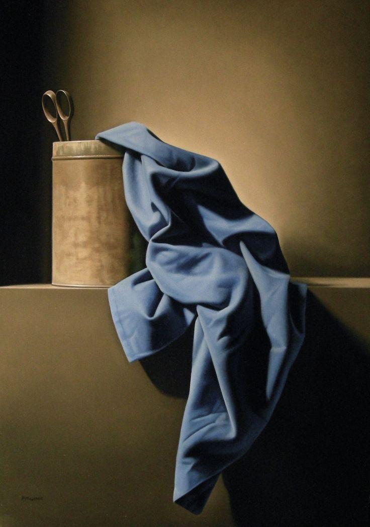 ciseaux au drapé bleu 46 x 65 huile/toile