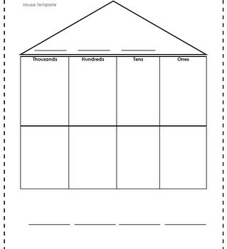 "We like to call this the ""Place Value House"". We use this house template to teach addition and subtraction with regrouping. We explain to the students that each place is a room and each room can only have one digit. This helps with the concept of regrouping."
