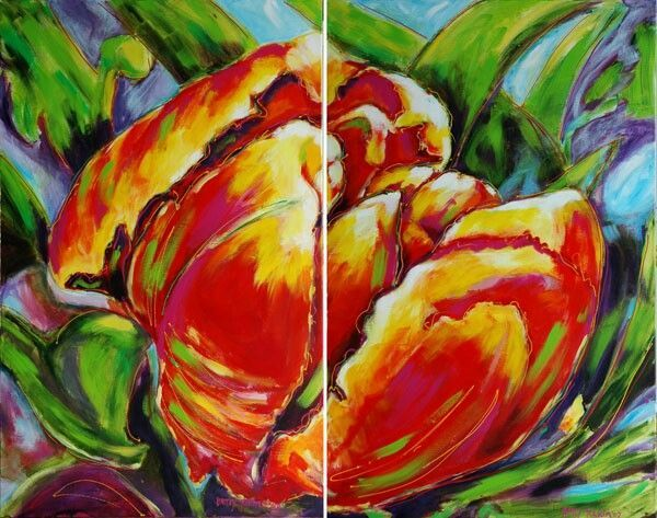 """Parrot tulip"" Diptych 160 x 200 cm painted by Betty Jonker"
