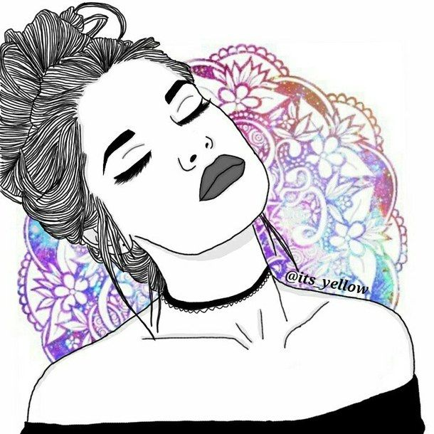 dessins de fille tumblr | ... , outline, outlines, purple, style, tumblr, First Set on Favim.com Más